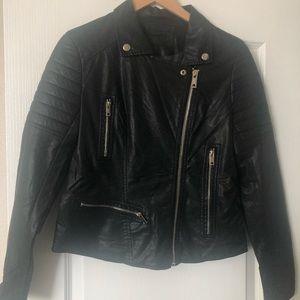 BLANKNYC Black Faux Leather Moto Zip Jacket M NWOT